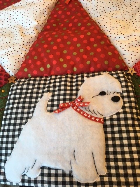 Christmas Tree Skirt and Westie Dishes For Sale